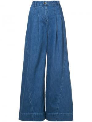 Широкие джинсовые кюлоты Ulla Johnson. Цвет: синий