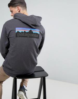 Patagonia Черный меланжевый худи на молнии с логотипом спине P-6. Цвет: черный