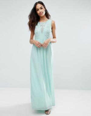 Club L Платье макси с вышивкой из роз для подружки невесты. Цвет: синий