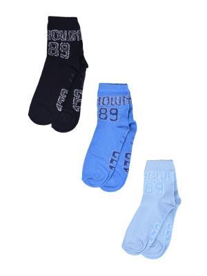 Носки Детские,комплект 3шт Malerba. Цвет: черный, голубой, синий