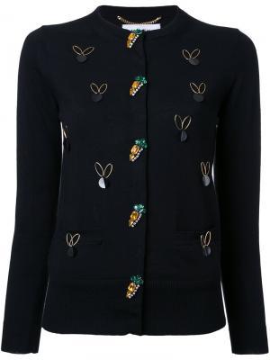 Декорированный кардиган Muveil. Цвет: чёрный