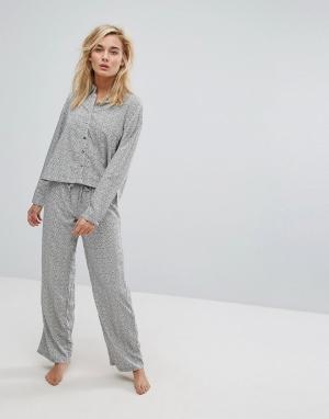 Lazy Days Пижамный комплект в горошек. Цвет: черный