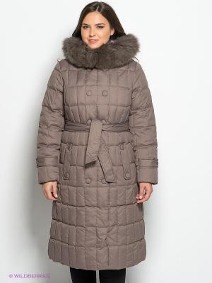 Пуховик- пальто Lawine. Цвет: темно-бежевый
