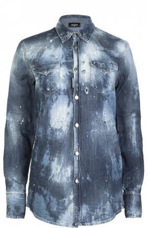 Рубашка джинсовая Dsquared2. Цвет: синий