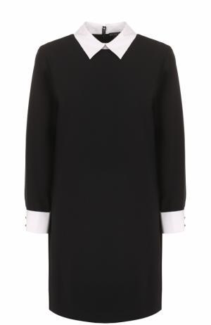 Платье-рубашка с контрастными воротником и манжетами Alice + Olivia. Цвет: черно-белый