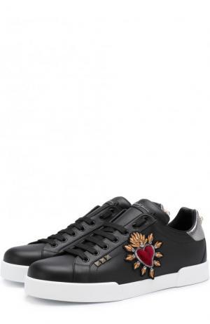 Кожаные кеды Portofino с отделкой Dolce & Gabbana. Цвет: черный