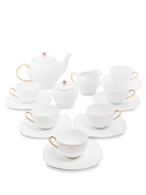 Чайный сервиз на 6 перс. Оро Бьянко (Pavone) Pavone. Цвет: белый
