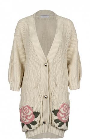 Вязаное пальто-кардиган с накладными карманами и укороченным рукавом Tak.Ori. Цвет: бежевый