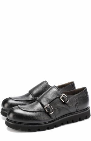 Кожаные монки на массивной подошве Rocco P.. Цвет: черный