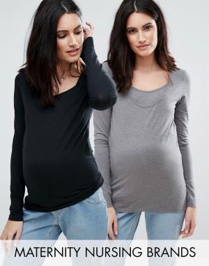 Mama.licious Набор из 2 трикотажных топов с длинными рукавами для беременных и корм. Цвет: мульти