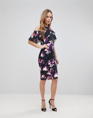 Jessica Wright Платье-футляр с открытыми плечами и цветочным принтом. Цвет: мульти