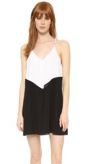 Платье с цветными блоками Belinda alice + olivia. Цвет: черный/оттенок белого