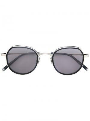 Солнцезащитные очки в круглой оправе Maska. Цвет: металлический