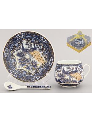 Кофейная пара Павлин синий Elan Gallery. Цвет: синий, белый