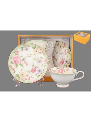 Чайная пара  Карнавал цветов Elan Gallery. Цвет: белый, зеленый, розовый