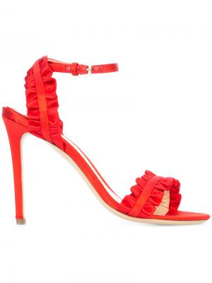 Ruffle detail stiletto sandals Monique Lhuillier. Цвет: красный