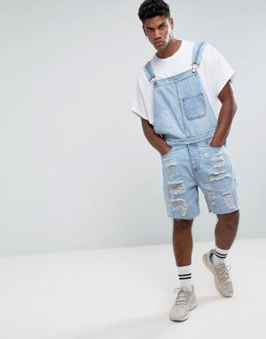 New Look Светлый рваный джинсовый комбинезон. Цвет: синий