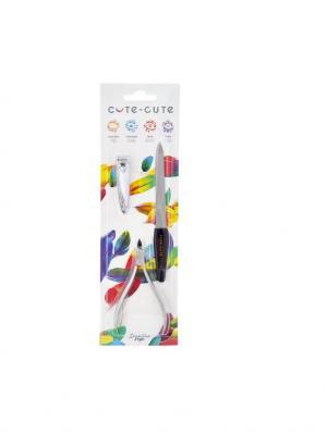 Набор 3 предмета: кусачки маникюрные, клиппер, пилка алмазная CUTE-CUTE.. Цвет: серебристый, черный