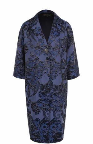 Пальто прямого кроя с укороченным рукавом St. John. Цвет: темно-синий