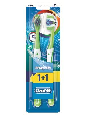 Зубная щетка Oral-B Комплекс. Пятисторонняя чистка, средняя жесткость. 1+1 - Вторая в подарок. ORAL_B. Цвет: зеленый, фиолетовый
