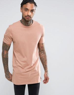 New Look Розовая удлиненная футболка. Цвет: розовый