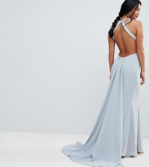 Jarlo Petite Платье макси с открытой спиной. Цвет: серый