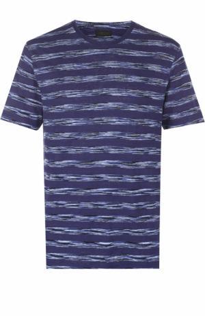 Льняная футболка в контрастную полоску Z Zegna. Цвет: синий