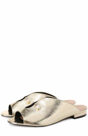 Сабо из металлизированной кожи с декором Coliac. Цвет: золотой