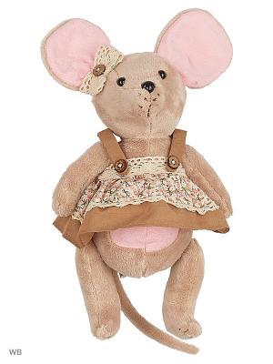 Мышка шарнирная Country mouse Миндалька в сарафане Fluffy Family. Цвет: коричневый, розовый, серый