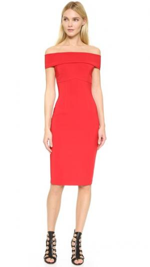 Эластичное платье с открытыми плечами Mechanial Yigal Azrouel. Цвет: красный кардинал