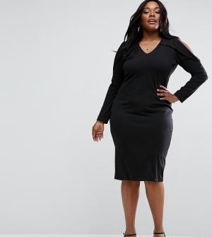 ASOS Curve Облегающее платье с длинными рукавами и вырезами на плечах. Цвет: черный