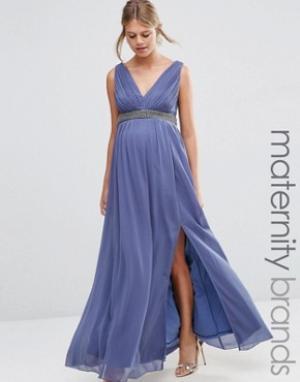 Little Mistress Maternity Платье макси для беременных с глубоким декольте и отделкой на талии Li. Цвет: серый