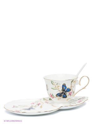 Чайная пара Райский уголок Pavone. Цвет: белый