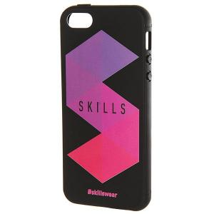 Чехол для iPhone  Треугольники 5/5s Черный Skills. Цвет: черный,фиолетовый,розовый