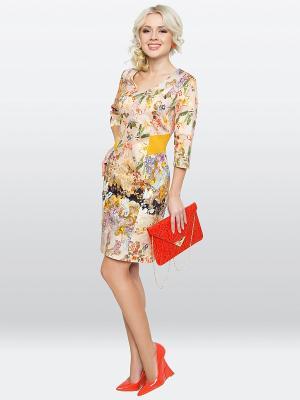 Платье E.Levy. Цвет: бежевый, желтый, черный