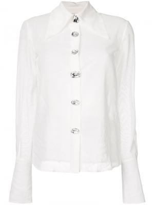 Полупрозрачная рубашка с воротником A.W.A.K.E.. Цвет: белый