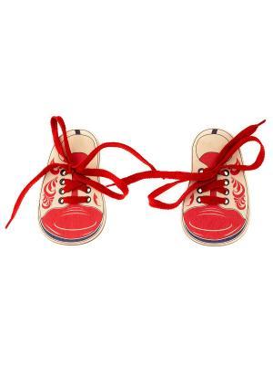 Шнуровка БОТИНКИ ХОХЛОМА (2 ботинка со шнурками) АНДАНТЕ. Цвет: красный, бежевый, темно-синий