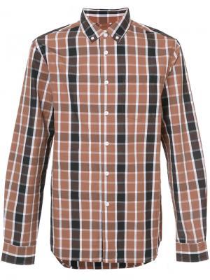 Рубашка в клетку Saturdays Nyc. Цвет: коричневый