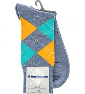 Хлопковые носки в клетку Burlington. Цвет: синий