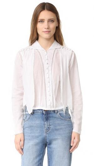 Блуза на пуговицах с прорезями Intropia. Цвет: белый