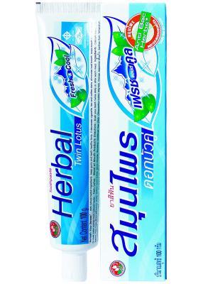 Зубная паста  Herbal Twin Lotus Fresh&Cool С травами свежесть и прохлада 100. Цвет: голубой