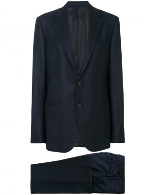 Checked two piece suit Caruso. Цвет: синий