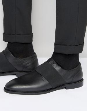 Zign Кожаные туфли с эластичным ремешком. Цвет: черный