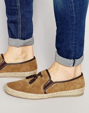 Dune Замшевые туфли-слипоны с кисточками. Цвет: рыжий