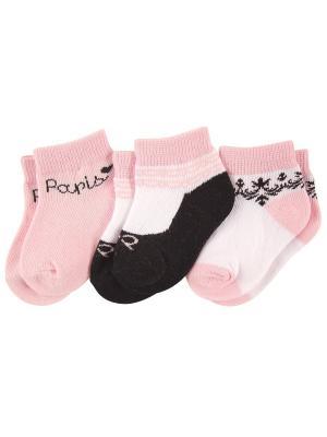 Носочки, 3 пары Luvable Friends. Цвет: розовый
