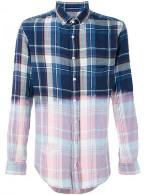 Контрастная клетчатая рубашка Blk Dnm. Цвет: синий