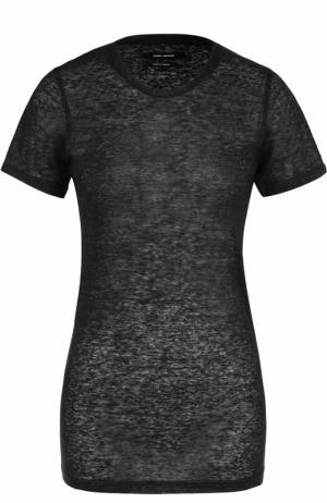 Льняная удлиненная футболка с круглым вырезом Isabel Marant. Цвет: темно-серый