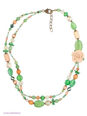 Колье Роман с камнем. Цвет: зеленый, оранжевый, розовый