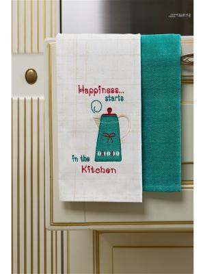 Набор полотенец кухонных Утренний кофе - 2 шт., 100% хлопок. ARLONI. Цвет: бирюзовый, бежевый