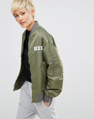 KKXX Куртка-пилот в стиле oversize. Цвет: зеленый